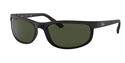 Ray-Ban RB2027 Predator 2 Sunglasses Matte Black w/Crystal Green (W1847) 2027 W1847 62mm Authentic, 62 mm