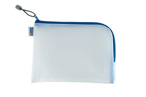 HERMA 20009 Bolso de tocador con cremallera A5, transparente (26 x 20 cm) estuche pequeño de viaje con cremallera para cosméticos, líquidos, maquillaje, cepillo de dientes, neceser en azul