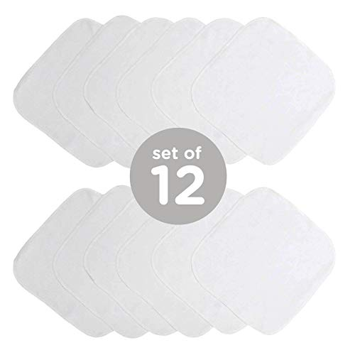 Neat Solutions Solid Knit Terry Washcloth Set, White, 12-Count