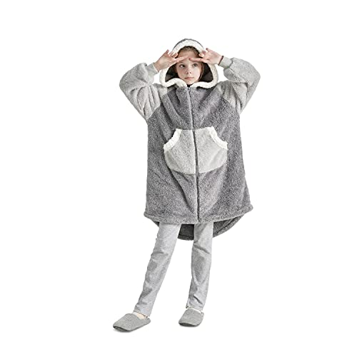 Bedsure Sherpa Wearable Blanket Sweatshirt - Wearable Blanket for Kids Women Men, Hoodie Blanket,...