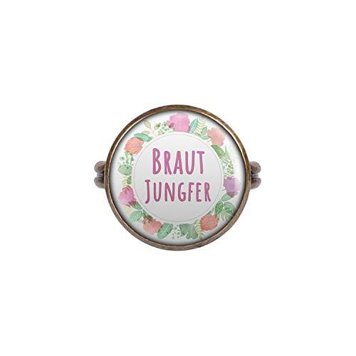 Mylery Ring mit Motiv Braut-Jungfer Blumen-Kranz Bronze 16mm