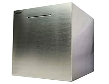 LUSEN Bigger Safe Piggy Bank Made of Stainless Steel,Bigger Safe Box Money Savings Bank for Kids,Can Only Save The Piggy Bank That Cannot be Taken Out  8.0 X8.0 X8.0