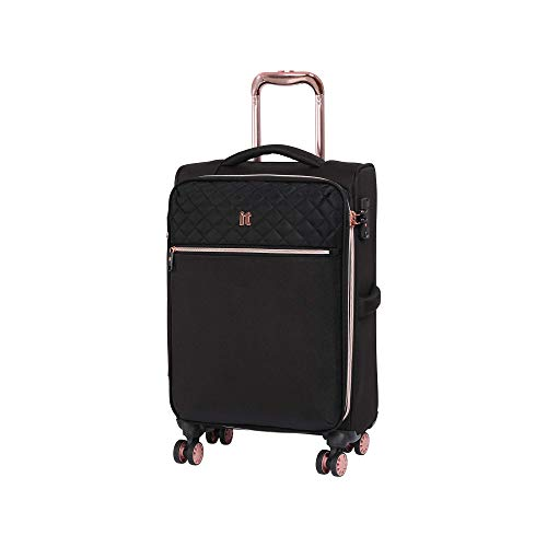it luggage Divinity 8 Wheel Lightweight Semi Expander Cabin With Tsa Lock Suitcase, 47 L, Black