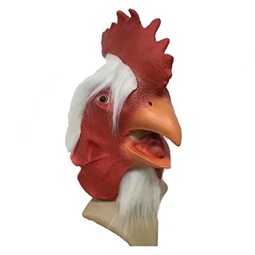 QMMD Maschere di Halloween Divertenti - Maschera di Testa di Halloween - Animale in Lattice Gallo - per Halloween del Cosplay Festival