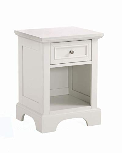 Home Styles Naples White Nightstand with Drawer, Mahogany Hardwood Solids and Engineered Woods, and Open Storage Space