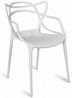 DESTELLO S.L. Silla diseño Moderno (Pack 6) 53x56x82cm Comedor, jardín, Eventos. Apilable (Blanco). Polipropileno.