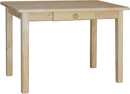 koma Esstisch mit Schublade Küchentisch Speisetisch Tisch Kiefer massiv Restaurant (80 x 120 cm)