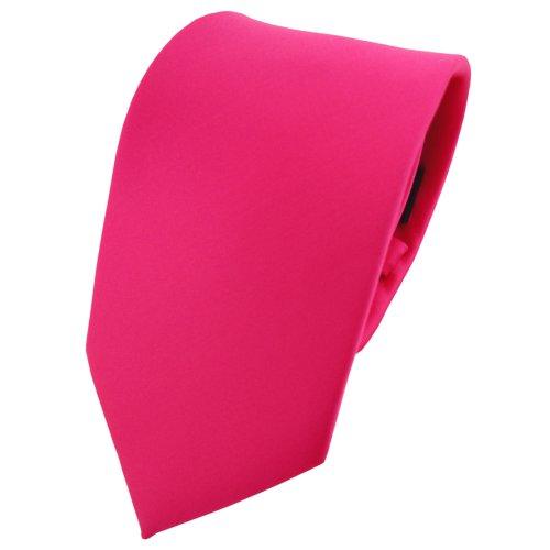 TigerTie Designer Satin Krawatte in pink knallpink neonfarben einfarbig einfarbig uni