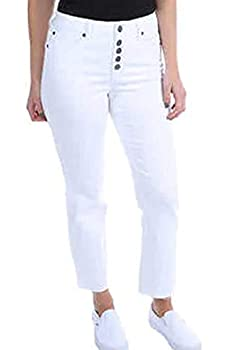 Kenneth Cole Ladies  Button Fly High Rise Straight Leg Comfort Stretch Jean  8/29 White-Watch