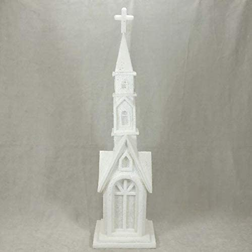 Factory Direct Craft Large White Church [Alternative dealer] Glittered Foam Lighted All items in the store