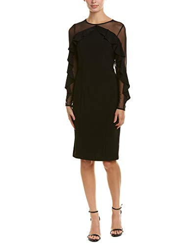 R&M Richards Women's one Piece Short Cocktail Laced Sleeve Dress, Black, 16