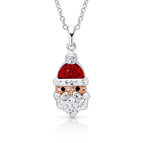 BLING BIJOUX Jewelry Santa Claus Christmas Holiday Charm Winter Pendant Necklace Never Rust 925 Sterling Silver for Women & Girls with Free Breathtaking Gift Box