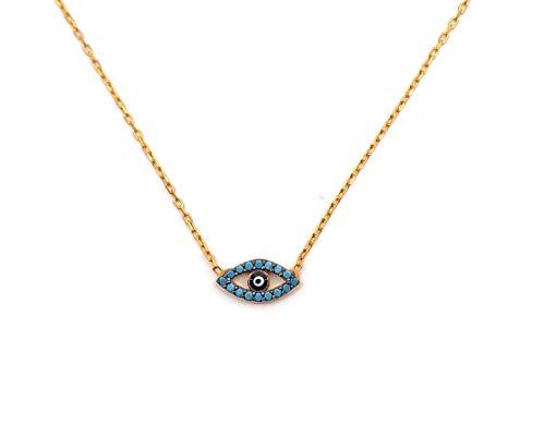 Mystic Jewels By Dalia Collar con Colgante de Ojo Turco Redondo Plata de Ley 925 con circonita cúbica y esmaltada en Azul Fuerte (Turquesa)