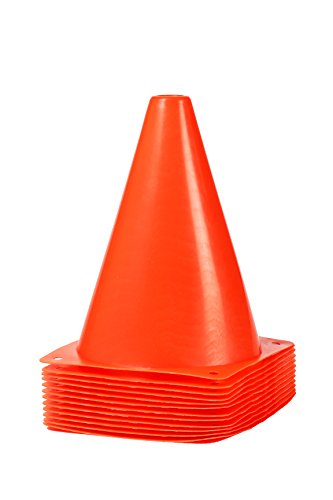 Juvale Sports Cones - Multi-Purpose Orange Plastic Traffic Cones - Great for Training, Soccer, Football, Basketball, and Other Sports Activities, Pack of 12, 7 Inches