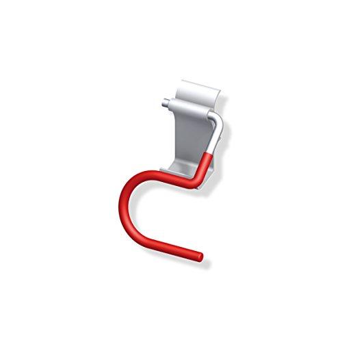 Gedotec Skihalter gebogen Gerätehalter Garage Wandhalter für die Wand-Montage | Tragkraft 10 kg | Stahl verzinkt | universal Wandhaken rot gummiert | 1 Stück - Ski-Halterung zum Schrauben
