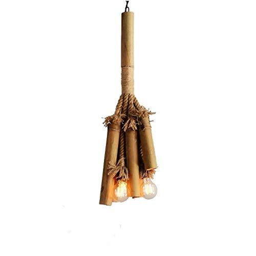 JIAHONG Araña Luces pendientes, American Village Cafe rural restaurante tienda de ropa de cáñamo retro de la cuerda de bambú de la lámpara, la personalidad creativa de estar luz de la habitación