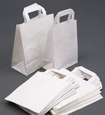 Surelock Papiertragetaschen mit Griffen, braunes weißes Kraftpapier, SOS-Blockbodenbeutel, zum Mitnehmen, Picknick, chinesisches Essen Small: 7