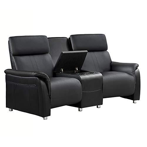 Raburg 2er Kinosessel MOVIE - zweisitzer Doppelsitzer Cinema Relaxsessel TV-Sessel mit Getränkehalter verstellbarer Fernsehsessel mit Liege-/ Relaxfunktion schwarz klassisch stilvoll