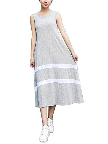 [ルクシア フィル] レディース XL シルバー グレー 白 白い ライン ロング おしゃれ ウエスト ゆったり ワンピース 可愛い ドレス アジアン サーキュラー フレア フリフリ スカート すかーと 大きい サイズ 大人 女性 女の子 キッズ 子供 子