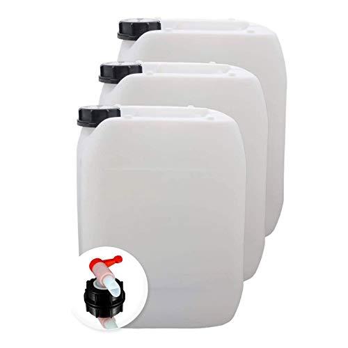 S-Pro Wasserkanister für Trinkwasser, Kanister mit Auslaufhahn, Wasserbehälter Camping, DIN 51 Einfüllöffnung, Trinkwasserkanister lebensmittelecht, 3X 10 Liter