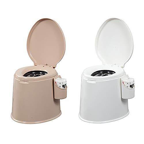 XIJING Toilette Portatile, Toilette Mobile da Campeggio con 2 secchi Interni Rimovibili e Supporto per Carta per Barca, Furgone, Resistente 400 libbre,Bianca