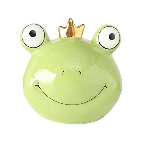 CasaJame Keramik Spardose Frosch mit Goldener Krone hellgrün Froschkönig 13x11x13cm