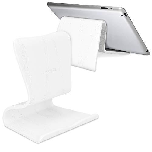 Navaris Soportede Madera para Tablet -SoporteUniversalpara Tableta - Apoyo para iPad Samsung Galaxy etc en Blanco