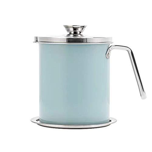 Filtro Aceite Cocina 304 Acero Inoxidable, Graseras de Cocina con Malla Fina Colador y Tapa Aceite Olla de Colador de Aceite de Acero Inoxidable / 1.8L Blue