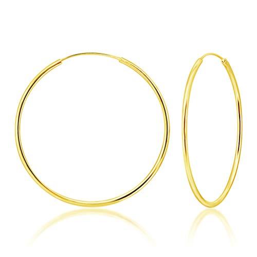 DTPsilver® Groß Creolen Ohrringe 925 Sterling Silber Gelb Vergoldet - Dicke 2 mm - Durchmesser 60 mm