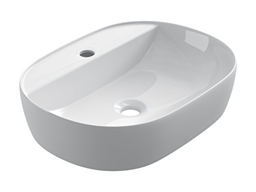 STARBATH PLUS Lavabo Cerámica Sobre Encimera Ovalado Blanco Taladro Grifo 50 x 38 x 12 cm SFOC50