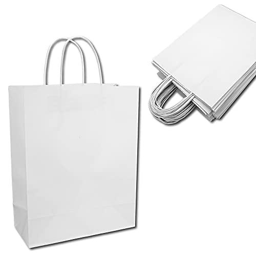 クラフトバッグ ギフトバッグ 手提げ袋 紙袋 無地 引き出物 お祝い プレゼント (20枚 ホワイト)