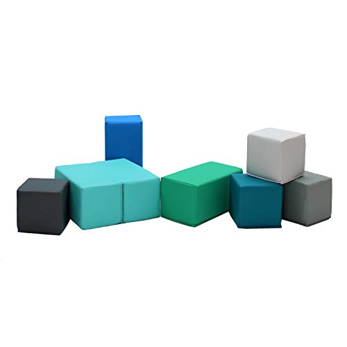 FDP SoftScape Playtime Big Building Block Set, Stacking Soft Foam Cubes for Toddlers and Kids; Includes Fun, Versatile Folding Block for Growing Imaginations and Motor Skills (7-Piece) - Contemporary