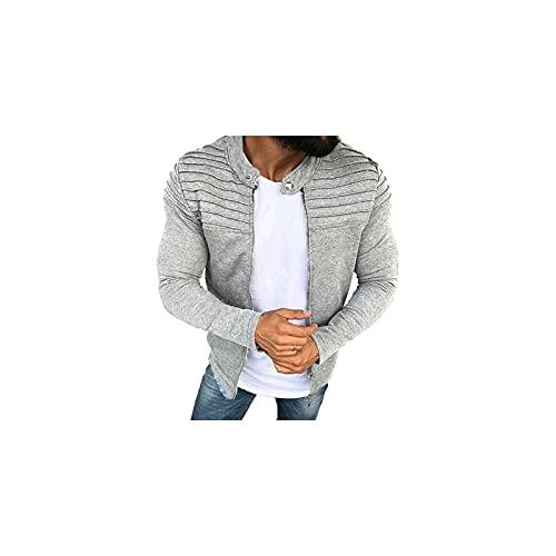 Wzdszuiljk Chaqueta, Chaquetas, Hombres Casuales Chaqueta para Hombre Pliegues De Otoño Slim Stripe Ajuste De Manga Larga Abrigo Cardigan (Color : Gray, Size : Large)