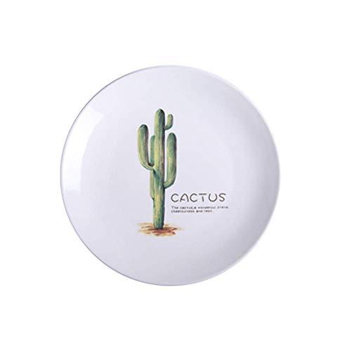 KANJJ-YU Ceramic Plate Nordic Green Plate Creative Plate Salad Plate Plate Household Ceramic Tableware Dish Plate Set Shallow Plate 8Cm Kitchen