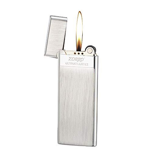 Soft Flame Kupfer Messing Zigarrenfackel Feuerzeug Nachfüllbares Butan Feuerzeug Rad Flint Zündung Tragbares schlankes Feuerzeug, kein Gas, einstellbare Flamme,Geschenke für Papa Ehemann (Silber)