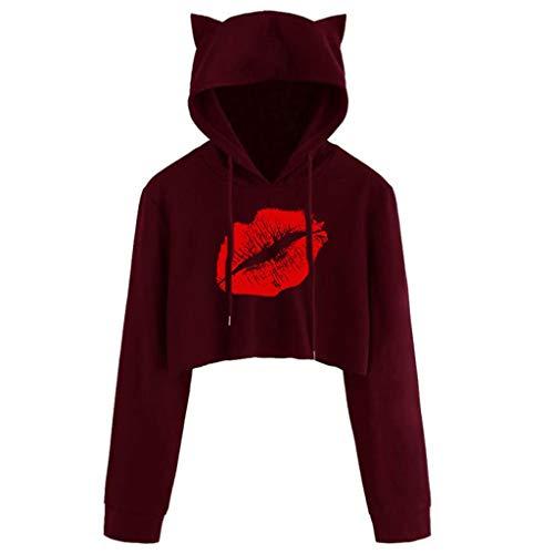 Sudaderas con capucha para mujer y adolescente con orejas de gato, estampado gráfico de labios rojos, manga larga con cordón