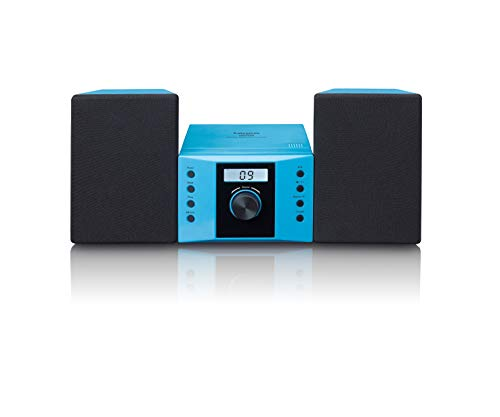 Lenco MC-013BU Stereoanlage - Kompaktanlage für Kinder - Radio CD-Player - LCD Display - AUX Eingang - 2 x 2 Watt RMS - mit Aufklebern - blau