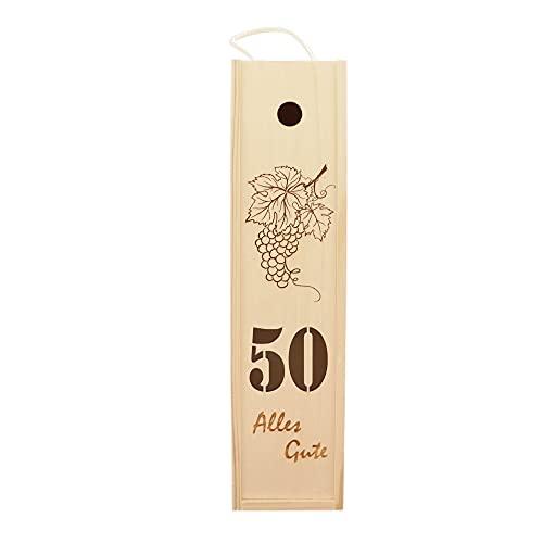 Hofmeister - Caja de vino con texto en alemán 'Alles Gute zum 50. Caja de vino de madera (38 x 9,5 x 9 cm)