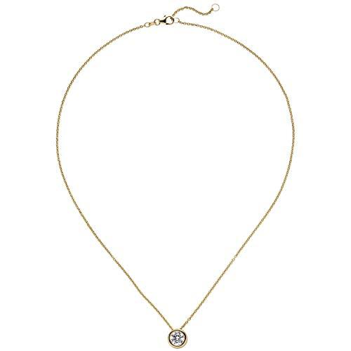 JOBO Damen Collier Kette mit Anhänger 585 Gold Gelbgold 1 Diamant Brillant 1,0 ct. 45 cm