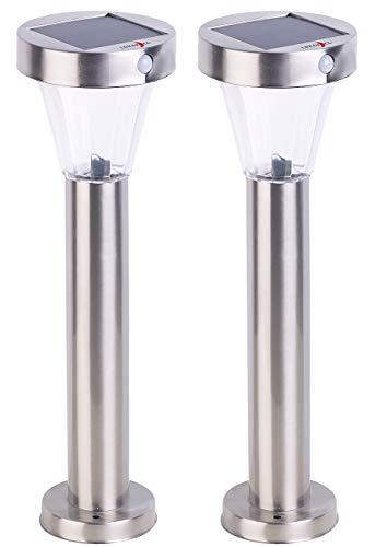 Lunartec Gartenbeleuchtung: 2er-Set Solar-Wegeleuchte, Edelstahl, Bewegungs- & Licht-Sensor, IP44 (Solarlampe mit Bewegungsmelder)