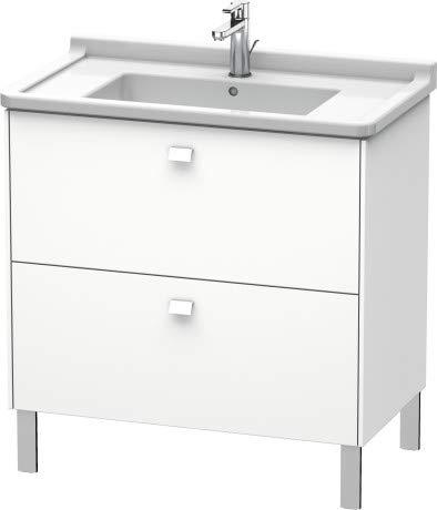 Duravit Brioso Waschtischunterbau stehend Compact 82,0 x 46,9 cm, 2 Auszüge, inkl. Siphonausschnitt und Schürze, für Waschtisch Starck 3 030480, Farbe (Front/Korpus): Taupe Matt Dekor, Griff Chrom