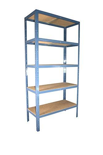 Shelf Creations Basic Schwerlastregal blau 180 x 120 x 30 cm mit 5 Böden Stecksystem aus Metall verzinkt: Metallregal geeignet als Kellerregal, Lagerregal, Archivregal, Ordnerregal, Werkstattregal
