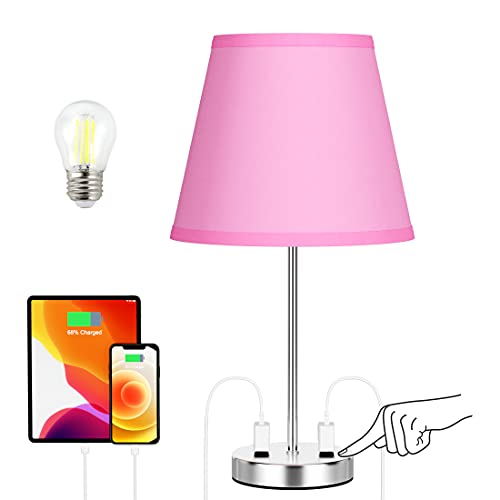 Night Stands Lamp Pink Room Decor - Cute Pink Touch Table Lamps for Teen Girls Bedroom, Pink Decorative Stuff for Living Room, Small End Tables Lamps for Pink Room Decoration Furry Fur Throw Pillows