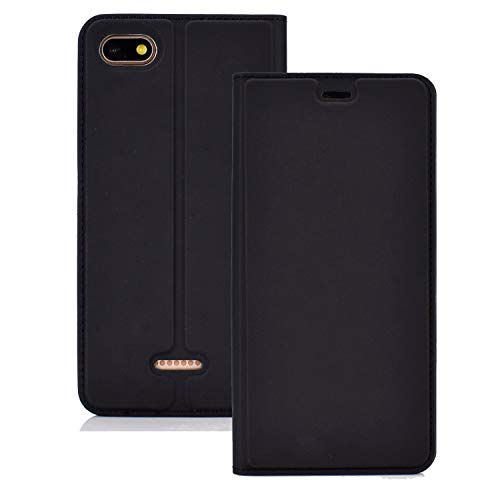 Price comparison product image ZHANGJIALI Jiali Cell Phone Cases DFVR Ultra-Thin Pressed Magnetic TPU+PU Leathe Case for Xiaomi Redmi 6A,  with Card Slot & Holder (Black) (Color : Black)