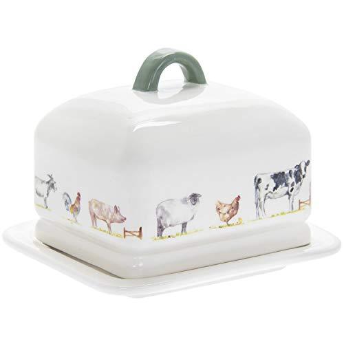 Lesser & Pavey Butterschale mit Deckel Butterdose Country Life Farm mit Motiv: Tiere vom Bauernhof