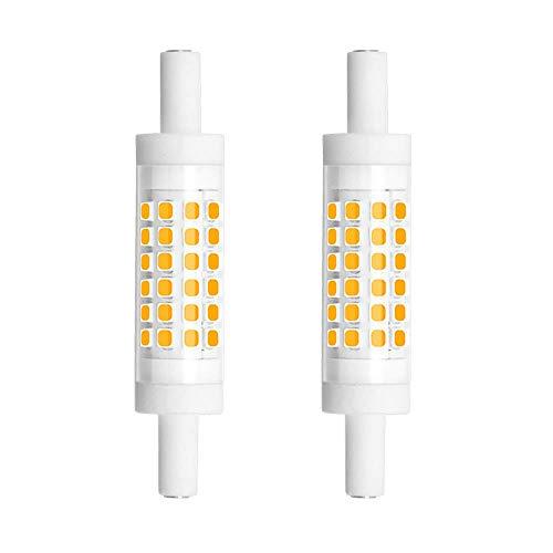 R7s Bombilla LED 5W 78 mm,Tipo J Bombillas de luz LED Regulables,J78 Reflector de Doble Terminación,Blanco Cálido 50 W Bombillas Halógenas Reemplazo de 220V-240V CA para Lámpara(2 paquetes)