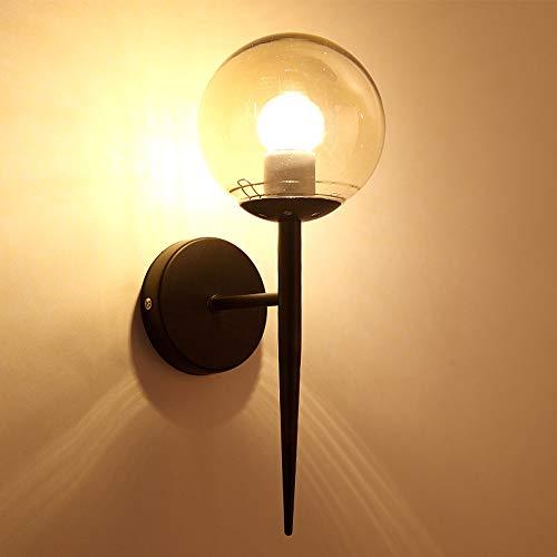 Semal wandlamp, modern, Europees, met lampenkap van glas, voor slaapkamer, hotel, eetkamer, woonkamer, werkkamer