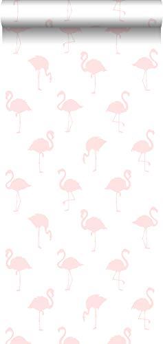 papel pintado flamencos rosa claro y blanco - 138918 - de ESTAhome.nl