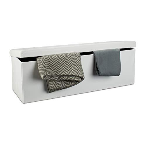 Relaxdays Faltbare Sitzbank HxBxT 38 x 114 x 38 cm, XL Kunstleder Sitztruhe, Aufbewahrungsbox mit Stauraum, weiß