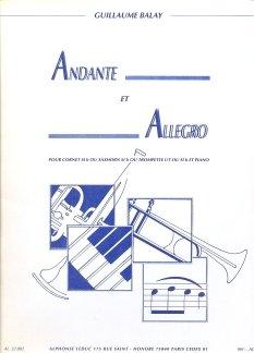 ANDANTE ET ALLEGRO - arrangiert für B-Instrumente - (Trompete in C) - Klavier [Noten / Sheetmusic] Komponist: BALAY GUILLAUME
